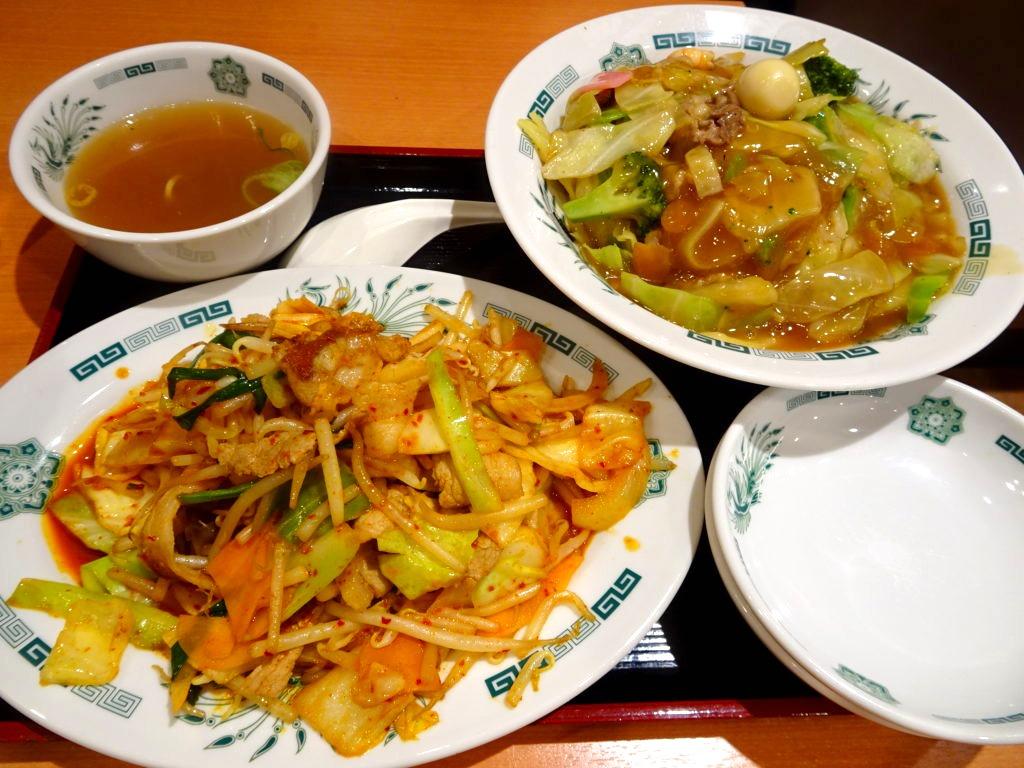 日高屋の中華丼とバクダン炒め