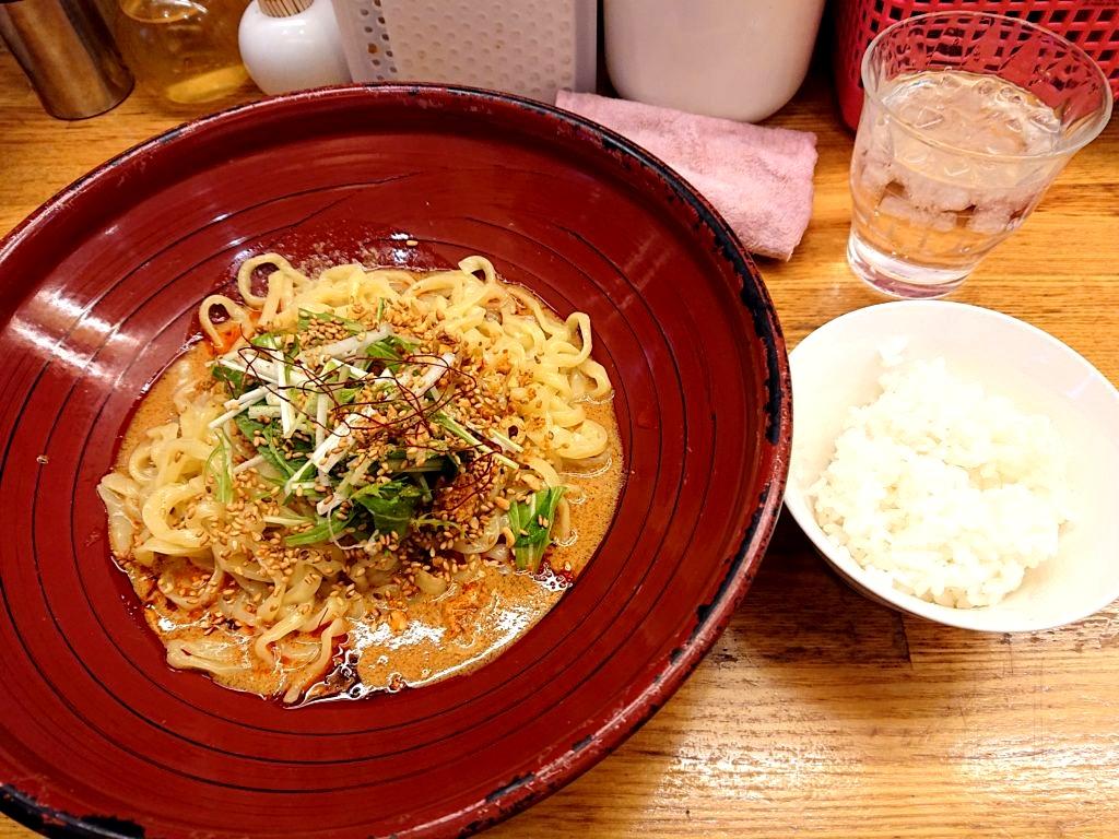 汁なし金胡麻担担麺と小ライスのセット