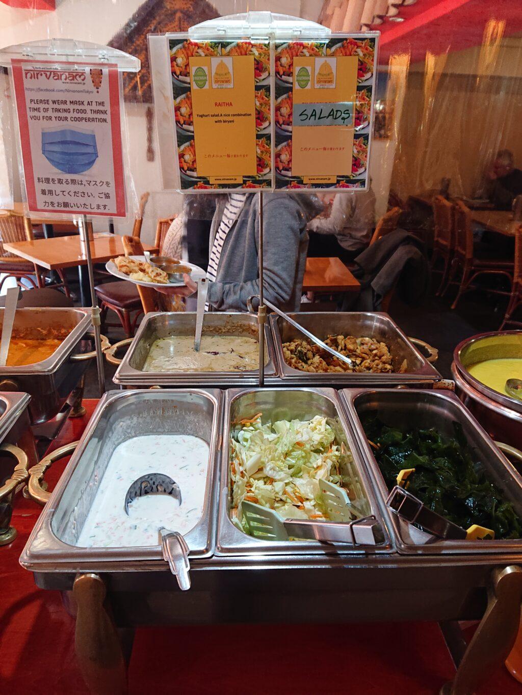 ニルワナム 神谷町店 (Nirvanam) ビュッフェのライタと野菜