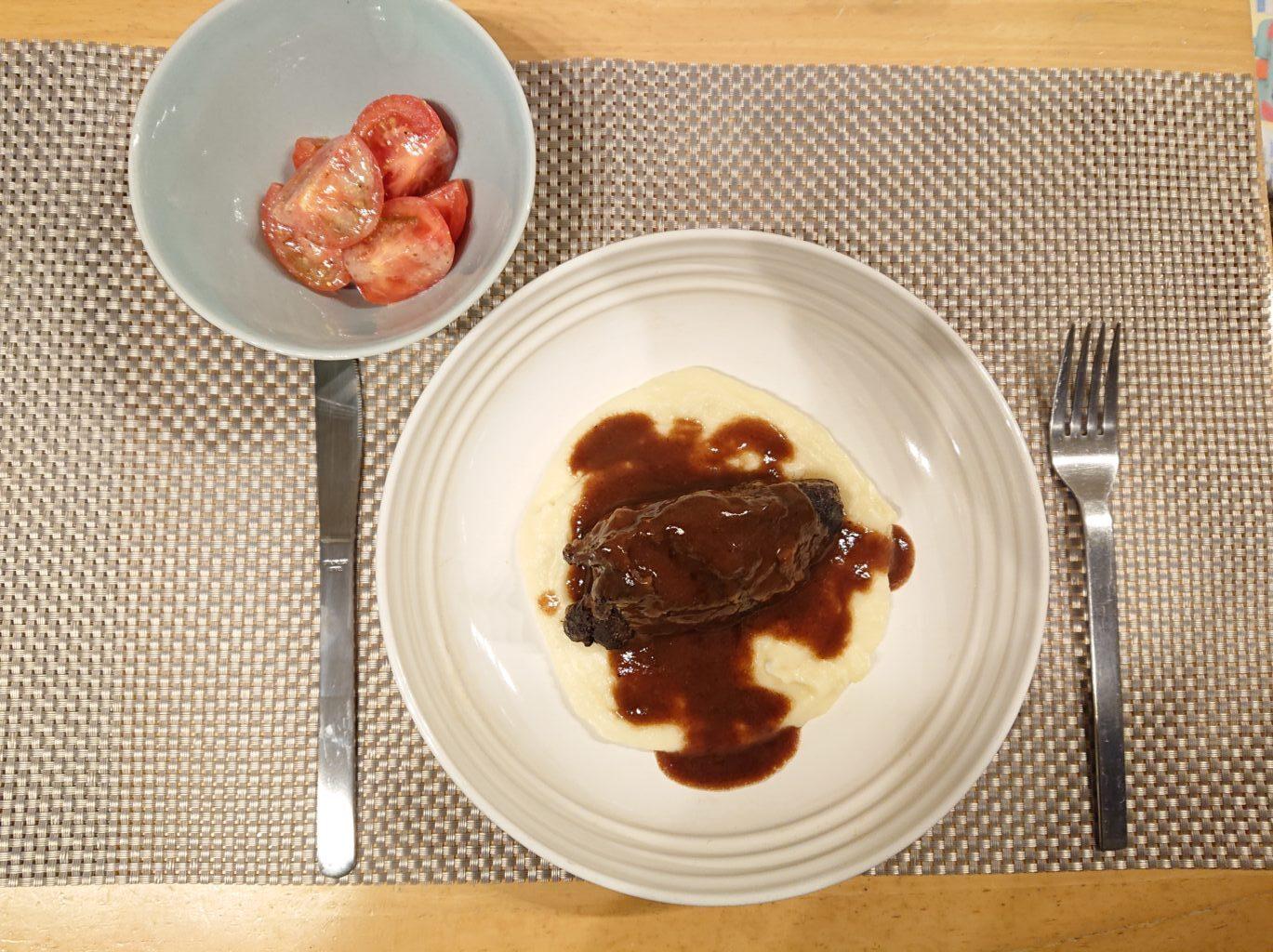 牛ほほ肉の赤ワイン煮込み 氷温2年熟成メークインのピューレとトマトのサラダのセット