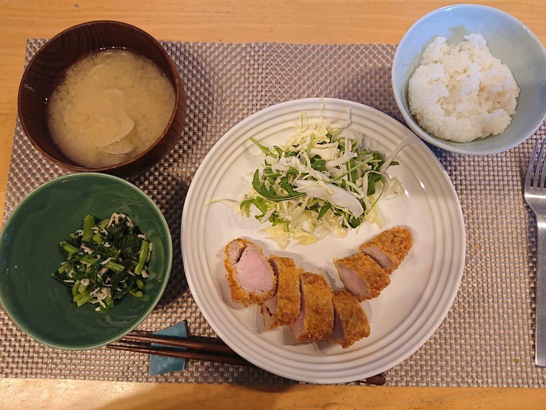 もち豚のヒレカツセット お味噌汁とご飯のセット